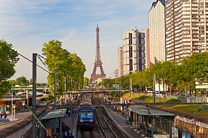 Train Station with High-rise Buildings on the Left Bank and Eiffel Tower, Paris, France 2011. No release available.  -  Gavin Hellier