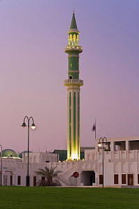 Minaret of the Grand Mosque iluminated at dusk, Doha, Qatar, Arabian Peninsula 2007  -  Gavin Hellier