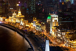 Shanghai night skyline, the view along Huangpu River and the Bund, Shanghai, China 2010. No release available.  -  Gavin Hellier