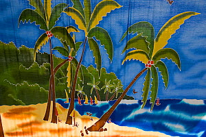 Tropical scene painting in French Marigot, St Martin, Netherland Antilles, Leeward Islands, Lesser Antilles, Caribbean, West Indies 2008  -  Gavin Hellier