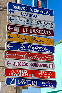 Street signs in Grand-Case on the French side, St Martin, Netherland Antilles, Leeward Islands, Lesser Antilles, Caribbean, West Indies 2008  -  Gavin Hellier