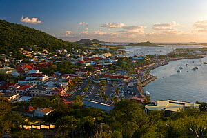 Elevated view over the French town of Marigot at dusk from Fort St. Louis, St Martin, Netherland Antilles, Leeward Islands, Lesser Antilles, Caribbean, West Indies 2008 - Gavin Hellier