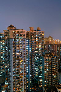 Apartment buildings at dusk in Central Shanghai, Shanghai, China, 2010. No release available.  -  Gavin Hellier
