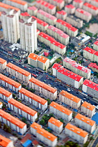 Aerial view of apartment buildings in Central Shanghai, Shanghai, China 2010. No release available.  -  Gavin Hellier