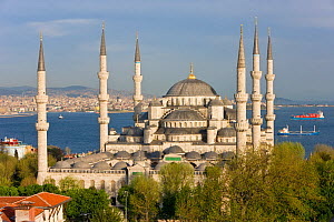 Elevated view of the Blue Mosque in Sultanahmet, overlooking the Bosphorus river in Istanbul, Turkey 2008  -  Gavin Hellier