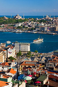 Elevated view over the Bosphorus and Sultanahmet from the Galata Tower in Istanbul, Turkey 2008  -  Gavin Hellier