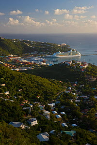 Elevated view in evening over Charlotte Amalie and the Cruise Ship dock at Havensight, St Thomas, US Virgin Islands, Leeward Islands, Lesser Antilles, Caribbean, West Indies 2008  -  Gavin Hellier