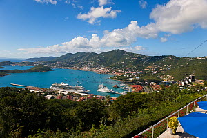 Elevated view over Charlotte Amalie and the cruise ship dock, St Thomas, US Virgin Islands, Leeward Islands, Lesser Antilles, Caribbean, West Indies 2008  -  Gavin Hellier