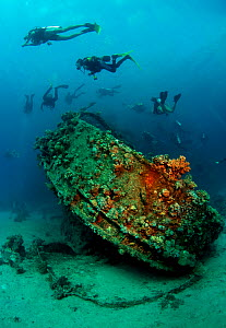 Divers on the wreck of the tugboat, 'Tienstin'. Abu Galawa, Red Sea, July 2010  -  Michael Pitts,Michael Pitts
