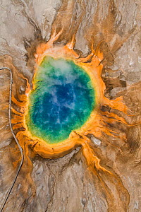 Aerial view of Grand Prismatic Springs Midway Geyser Basin. Yellowstone National Park, Wyoming, July 2011. - Jeff Vanuga