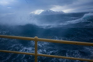 Arctic expedition cruiseship M/S Stockholm in heavy sea and gale winds at Sarkapp (South Cape), Svalbard, Norway, July 2012 - Florian Möllers