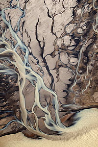 Aerial view. Rivulets at the Langj�kull glacier. Iceland. September 2010  -  Erlend Haarberg