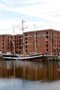 Tall ship 'Pelican of London' berthed in Canning Dock, Liverpool, River Mersey, England, August 2012. - Graham Brazendale