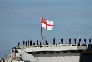 'HMS Illustrious' arriving in Liverpool, Merseyside, England, February 2013. For editorial use only. - Norma Brazendale