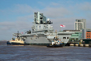 'HMS Illustrious' arriving in Liverpool, River Mersey, England, February 2013. For editorial use only. - Norma Brazendale