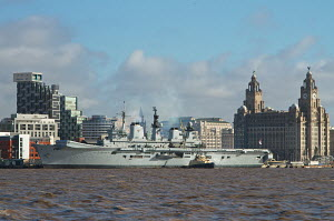 'HMS Illustrious' docking in Liverpool, River Mersey, England, February 2013. For editorial use only. - Norma Brazendale