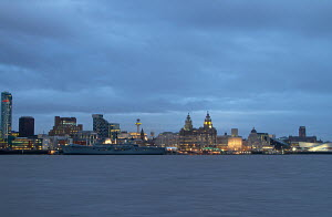 'HMS Illustrious' visiting Liverpool, River Mersey, England, February 2013. For editorial use only. - Norma Brazendale