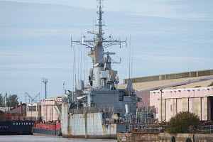 Falkland Islands Campaign Veteran 'HMS Plymouth' awaiting scrapping despite hopes of preservation. East Float Dock, Birkenhead, Wirral, Merseyside, England, October 2012. All non-editorial uses must c... - Graham Brazendale