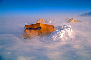 Tents in a storm with 75 mile per hour winds, at Patriot Hills, Antarctica - David Tipling