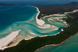 Aerial view of Whitehaven Beach - a seven kilometre stretch of pure white sand, Whitsunday Island, Coral Sea, Pacific Ocean, August 2011  -  Juergen Freund