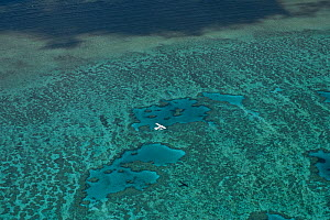 Aerial view of Hardy Reef with float plane, Great Barrier Reef, August 2011  -  Jurgen Freund