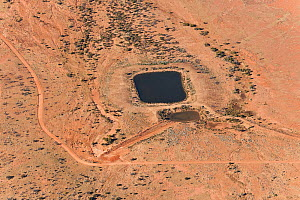Aerial view of dam and watering hole for cattle in the outback, South Australia, June 2011  -  Jurgen Freund
