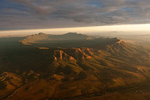 Dramatic early morning aerial of Wilpena Pound, Flinders Ranges National Park, South Australia, June 2011  -  Juergen Freund