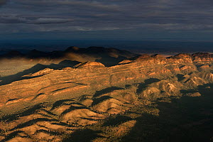 Dramatic early morning aerial of Wilpena Pound, Flinders Ranges National Park, South Australia, June 2011 - Jurgen Freund