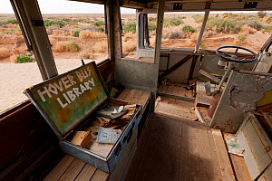 Interior of Ghan Hover Bus, sculpture at Mutonia Sculpture Park, Oodnadata Track, South Australia  -  Jurgen Freund
