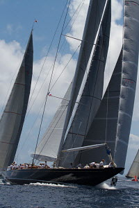Preparing to hoist spinnaker on board yacht during the St Barths Bucket superyacht regatta, St Barthelemy, Caribbean, March 2013. All non-editorial uses must be cleared individually. - Ingrid Abery
