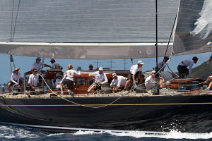 JK6 'Hanuman' competing in the St Barths Bucket superyacht regatta, St Barthelemy, Caribbean, March 2013. All non-editorial uses must be cleared individually. - Ingrid Abery