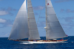 Overall regatta winner 'Adela' during the St Barths Bucket superyacht regatta, St Barthelemy, Caribbean, March 2013. All non-editorial uses must be cleared individually. - Ingrid Abery