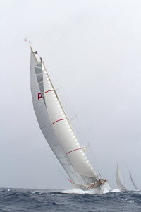 'Adela' competing in choppy conditions during the St Barths Bucket superyacht regatta, St Barthelemy, Caribbean, March 2013. All non-editorial uses must be cleared individually. - Ingrid Abery
