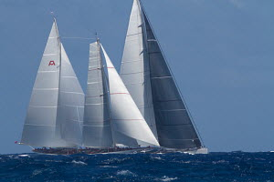 'Adela' racing in the St Barths Bucket superyacht regatta, St Barthelemy, Caribbean, March 2013. All non-editorial uses must be cleared individually.Overall regatta winner - Ingrid Abery