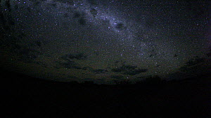 Timelapse of the Milky Way galaxy revolving due to the Earth's rotation, with moonrise and clouds, footage taken at night using starlight camera technology, Moremi Game Reserve, Botswana, April 2009. - Ammonite