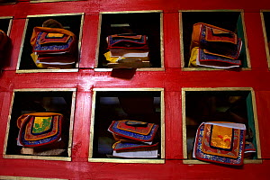 Prayer Books in the Buddhist Monastery at Chiu Gompa (15252 ft), Lake Manasarowar, West Tibet  -  Ben Lascelles