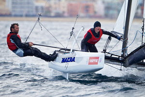 Billy Besson and Marie Riou (FRA) competing in the Nacra class during the Trofeo SAR Princesa Sofia MAPFRE, Palma, Mallorca, April 2013. - Jesus Renedo