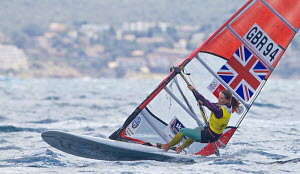 Bryony Shaw (GBR) competing in the RS:X event during the Trofeo SAR Princesa Sofia MAPFRE, Palma, Mallorca, April 2013.  -  Jesus Renedo