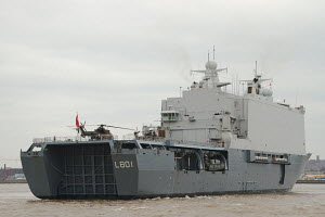 Dutch Royal Navy warship 'Johann de Witt' on the River Mersey, Liverpool, England, March 2013. For editorial use only. - Norma Brazendale