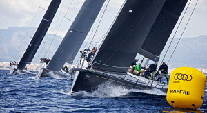 'Bellamente' racing in the mini maxi class on the first day of the PalmaVela Regatta, Palma, Mallorca, Spain, May 2013. All non-editorial uses must be cleared individually. - Jesus Renedo