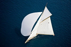 Aerial view of classic gaff cutter 'Moonbeam IV' under spinnaker on the third day of the PalmaVela Regatta, Palma, Mallorca, Spain, May 2013. All non-editorial uses must be cleared individually. - Jesus Renedo