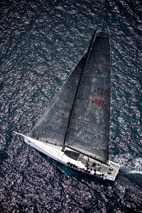 Aerial view of mini maxi 'Shockwave' on the third day of the PalmaVela Regatta, Palma, Mallorca, Spain, May 2013. All non-editorial uses must be cleared individually. - Jesus Renedo