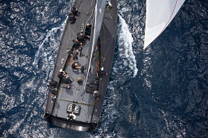 Aerial view of mini maxi 'Jethou' on the third day of the PalmaVela Regatta, Palma, Mallorca, Spain, May 2013. All non-editorial uses must be cleared individually. - Jesus Renedo