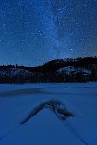 Frozen lake at night in under the Milky Way. Flatanger, Norway, January 2010. - Sven  Zacek
