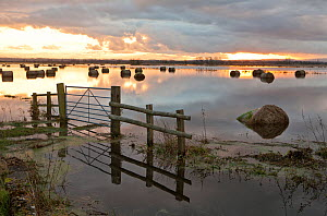 Flooded farmland with hay bales on Tadham Moor, Somerset Levels, England, December 2012 - John Waters