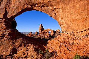 Rock formation 'Turret Arch' as seen through 'North Window'. Arches National Park, Utah, October 2012. - Kirkendall-Spring