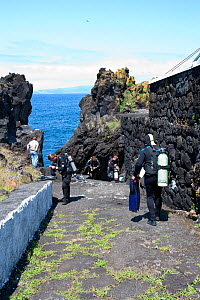 Scuba divers walking to the sea, Pico Island, Azores, Portugal, Atlantic Ocean  -  Franco Banfi