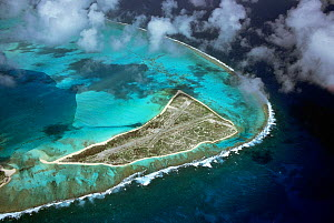 Eastern Island showing the WW2 airstrip which was used to launch the initial attack on the Japanese fleet for the Battle of Midway, Midway, Central Pacific.  -  Michael Pitts