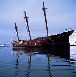 Wreck of the 'Bayard' a three masted iron-hulled barque that ran aground in 1911. Built in Liverpool in 1864. Ocean Harbour, South Georgia Island.  -  Michael Pitts