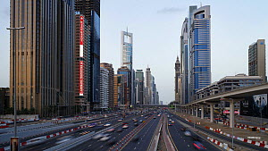 Timelapse of traffic on Sheikh Zayed Road, Dubai, United Arab Emirates, 2011. - Gavin Hellier